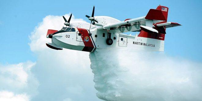 APMM Guna Pesawat Bombardier CL415 bantu JBPM kawal kebakaran tanah gambut di Miri, Sarawak.
