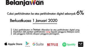 Cukai Perkhidmatan 6% ke atas Perkhidmatan Digital bermula 1 Januari 2020